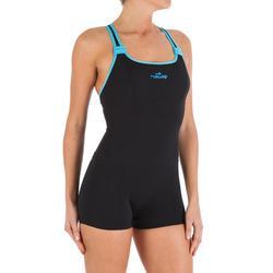 Bañador una pieza shorty para mujer de aquagym Dary negro azul
