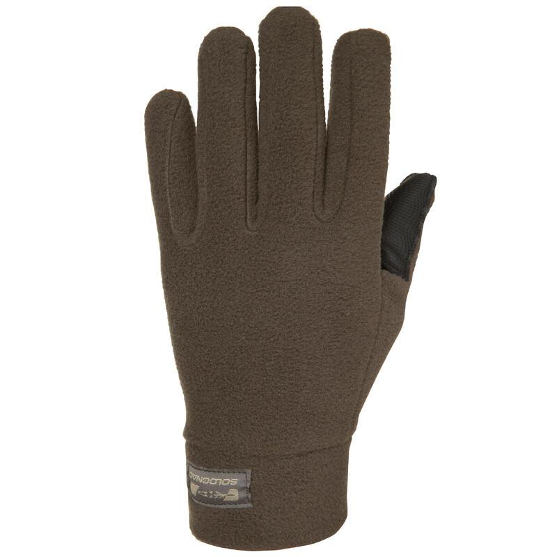 Gants de chasse polaire polyester - 300 marron