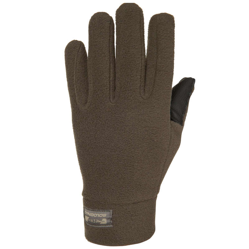 WARM GLOVES/BEENIES/HOODS Shooting and Hunting - 300 GLOVES brown SOLOGNAC - Hunting and Shooting Clothing