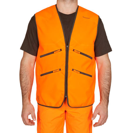 GILET CHASSE SUPERTRACK 500 ORANGE FLUO