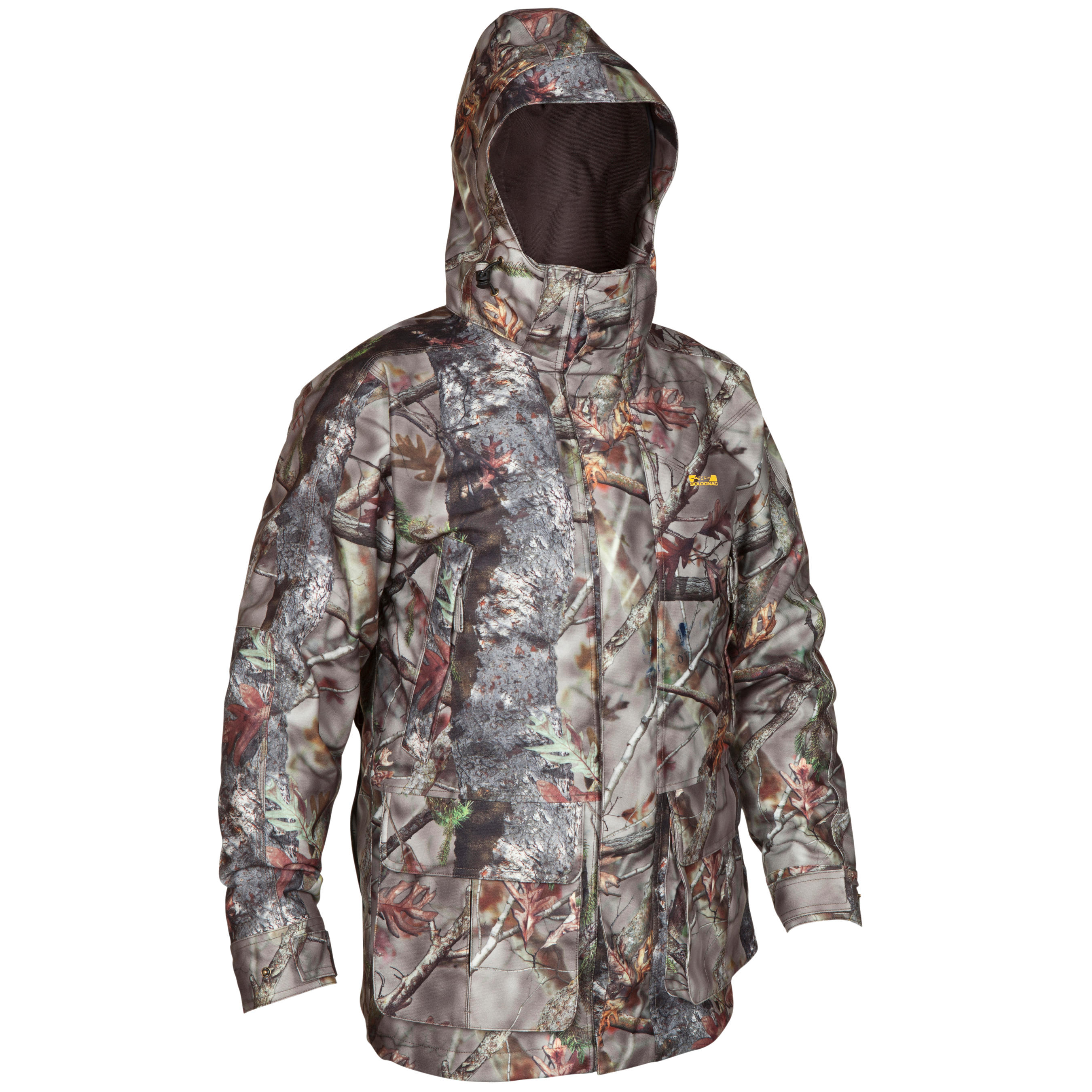 VESTE CHASSE IMPERMÉABLE POSIKAM 300 CAMOUFLAGE MARRON