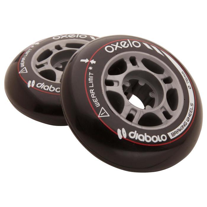 2 roues roller DIABOLO 76mm noires - 476964