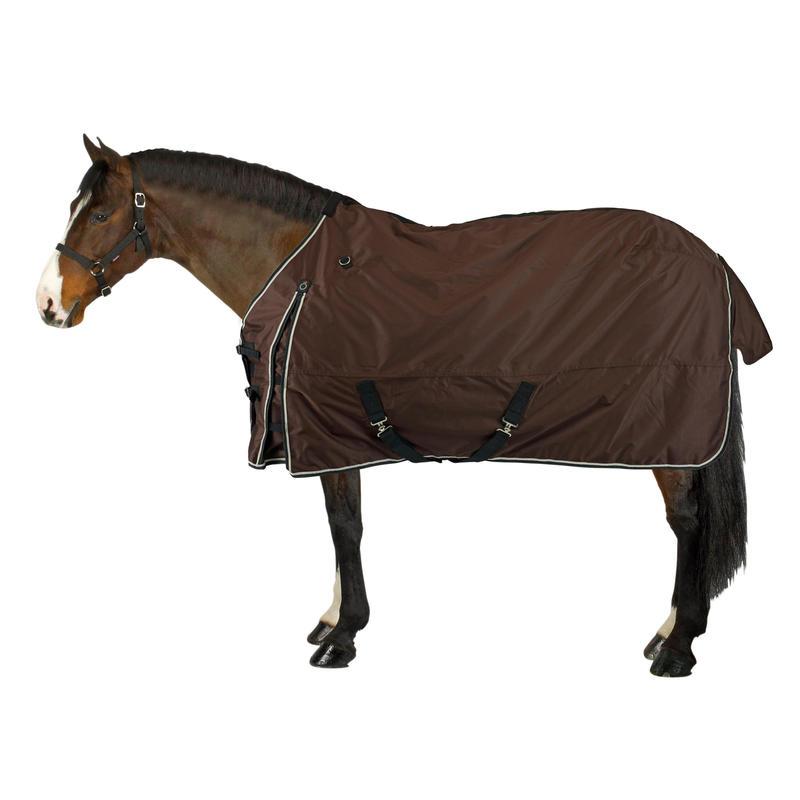 Zirgu/poniju viegla, ūdensnecaurlaidīga visu laikapstākļu jāšanas sega, brūna