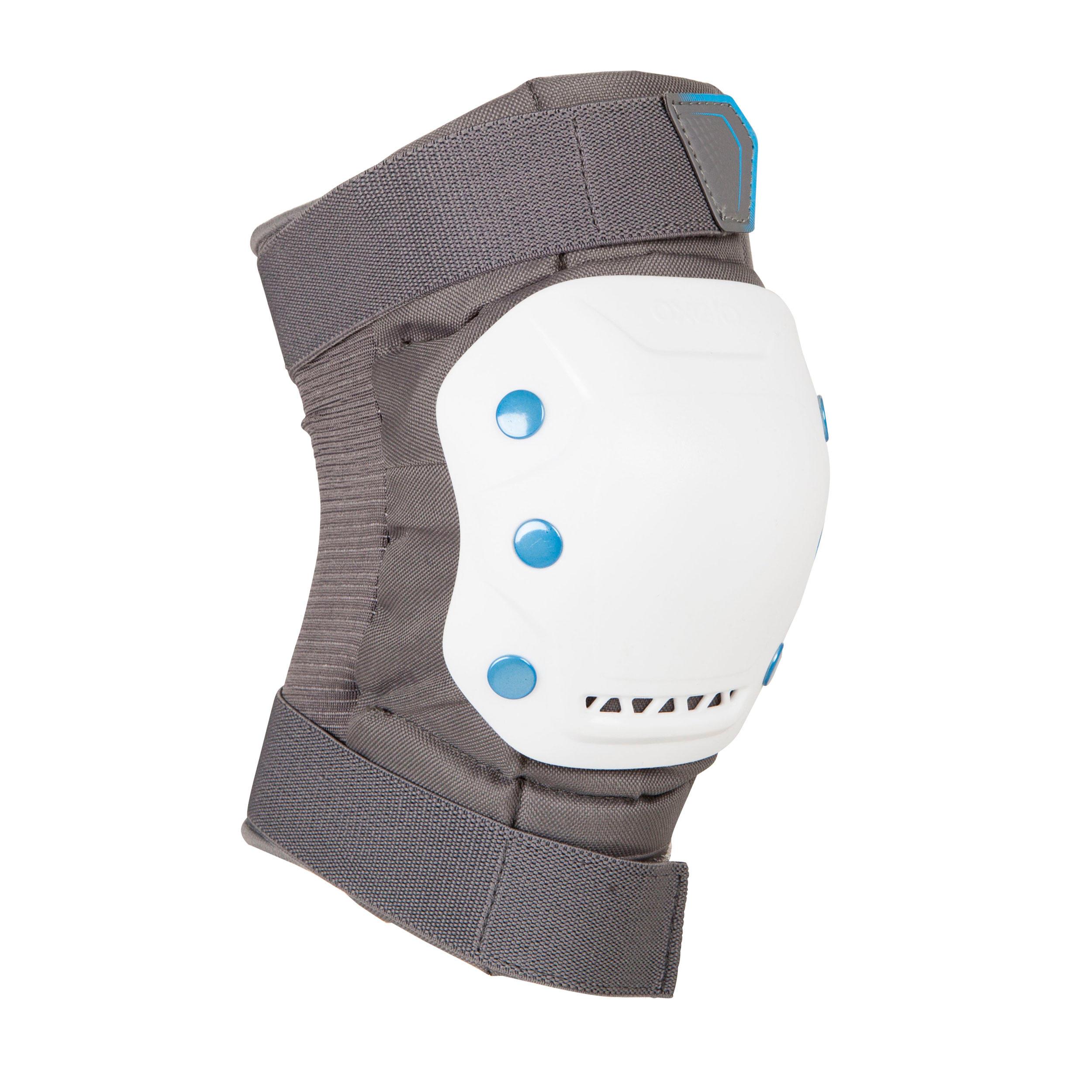Ens. 3 protections pour patin, skateboard, trottinette adulte FIT 5 gris blanc