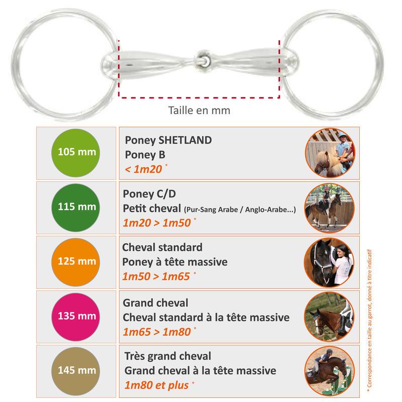 Bocado equitación 2 anillos huecos de acero inoxidable - tallas caballo y poni