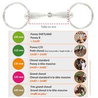 Filete equitación fouganza 2 anillos huecos caballo y poni de acero inoxidable