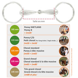 Filete equitación 2 anillos huecos Fouganza caballo y poni acero inoxidable