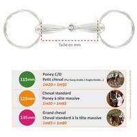 Filete baucher de equitación con 2 anillas y doble articulación - poni/caballo