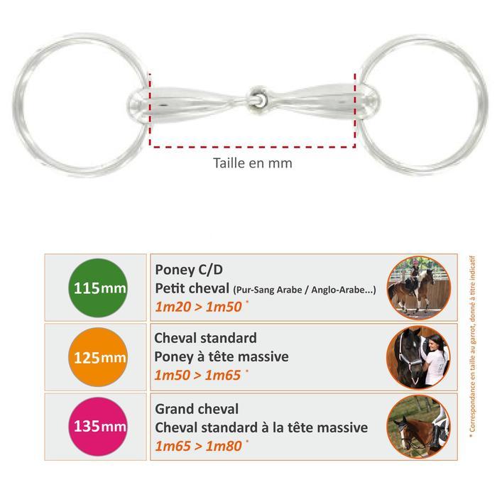 Mors équitation cheval et poney 2 anneaux droit caoutchouc - 489608