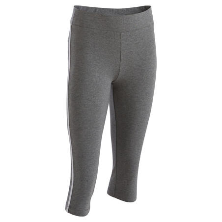 Girls' gym cropped trousers - grey