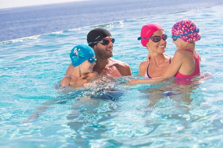 Mesh Fabric Swimming Cap, Sizes S and L - Black