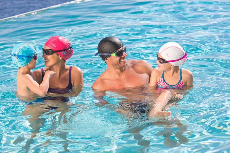 Lunettes de natation 100 EASYDOW Taille P Bleu Blanc