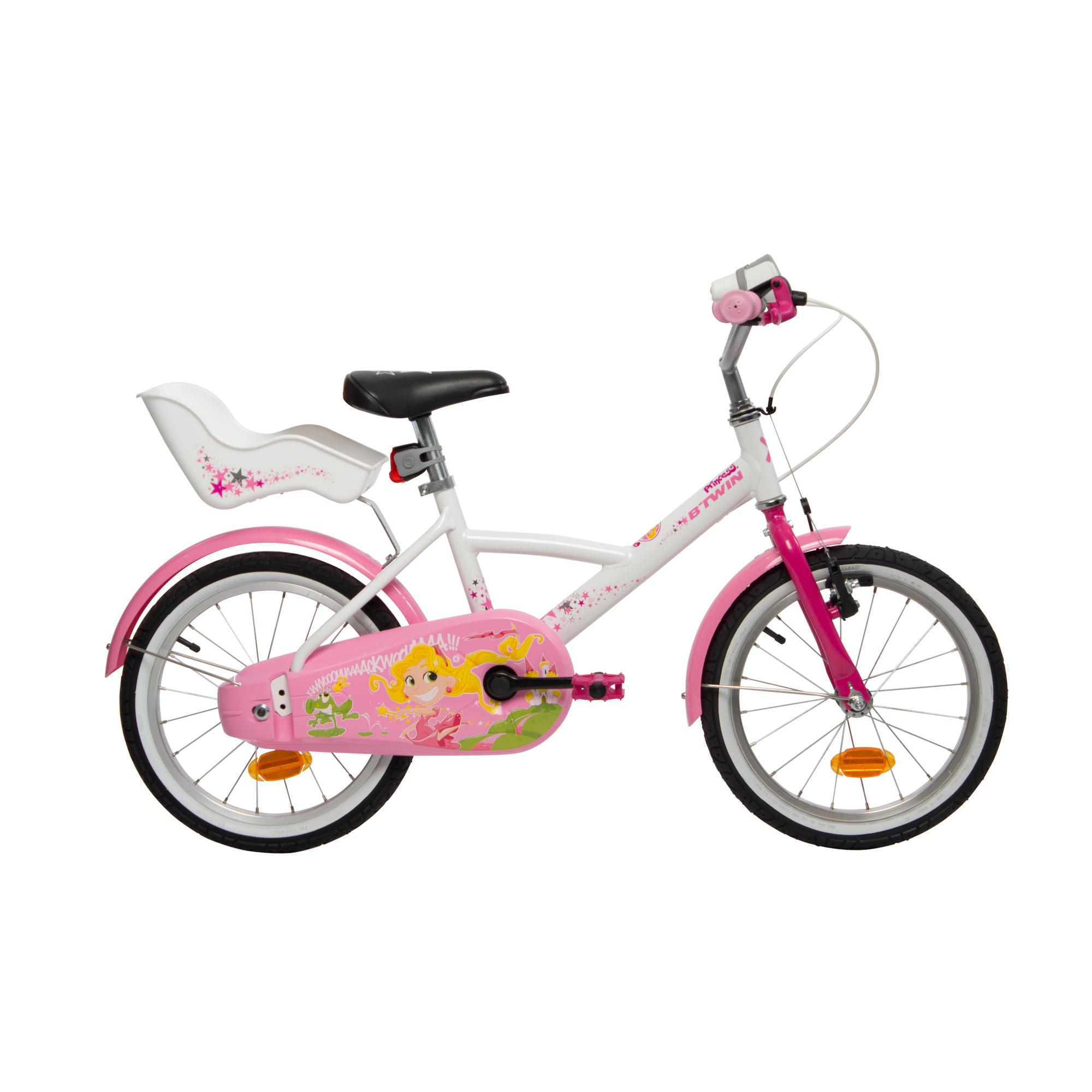 "B'twin Kinderfiets 16 inch Liloo Princess wit/roze - 16"""