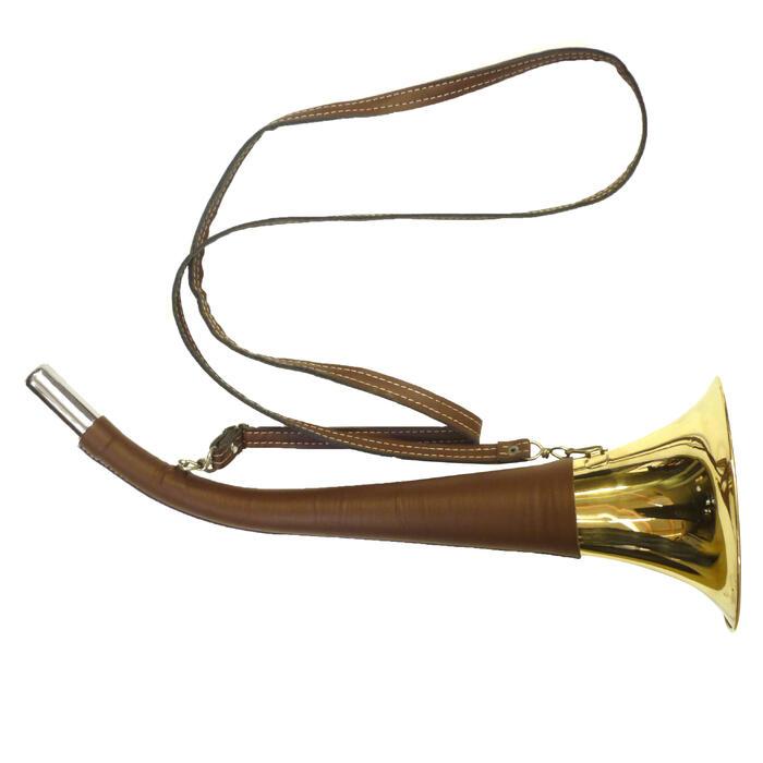 Jagdhorn mit Tragriemen Leder 50cm