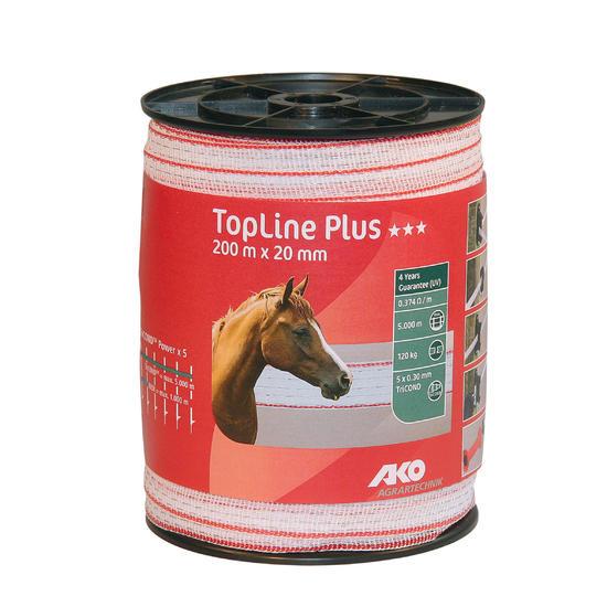 Wit schriklint voor paardenomheining TOP LINE PLUS - breedte 20 mm x 200 m - 508401