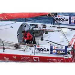 Chaqueta Cortaviento Impermeable Barco Vela Tribord Mujer Rojo Capucha