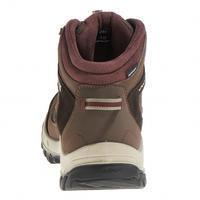 Women's brown Forclaz 100 High waterproof hiking boots.