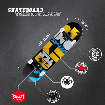Skateboard Team 8th - Black