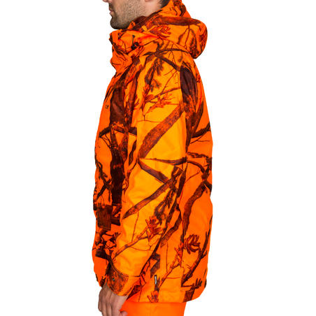 HUNTING 3-IN-1 WARM AND WATERPROOF JACKET 300 - FLUORESCENT CAMOUFLAGE