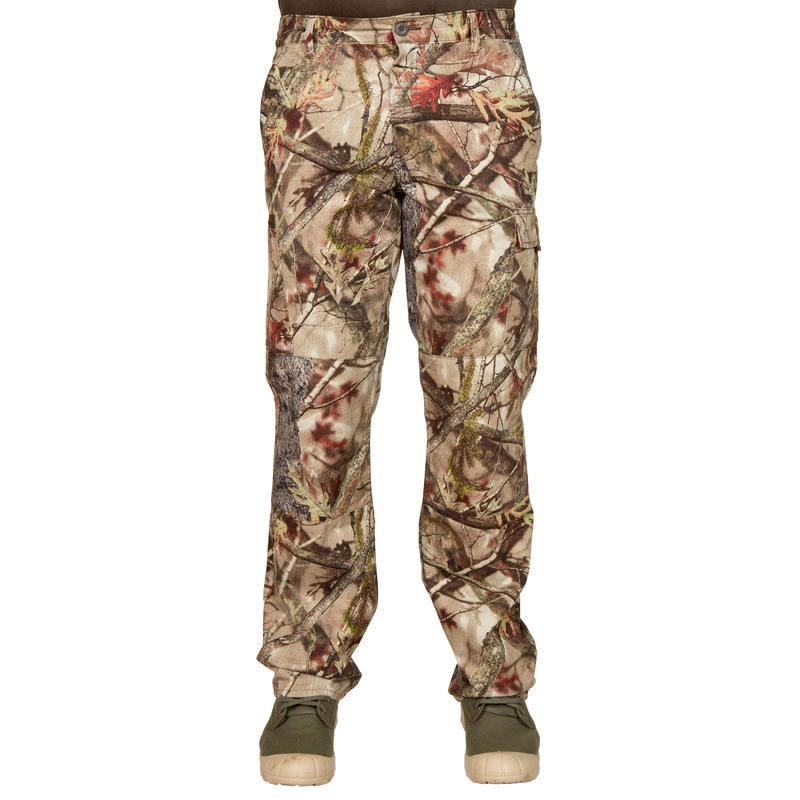 STEPPE 100 ACTIKAM HUNTING TROUSERS - CAMOUFLAGE BROWN