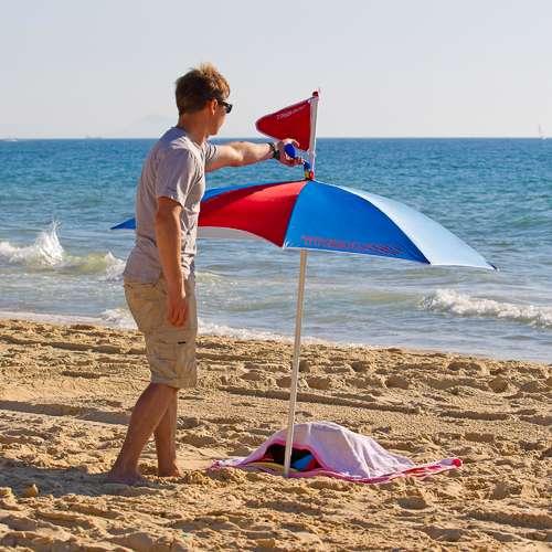 strandparasoll med uv skydd