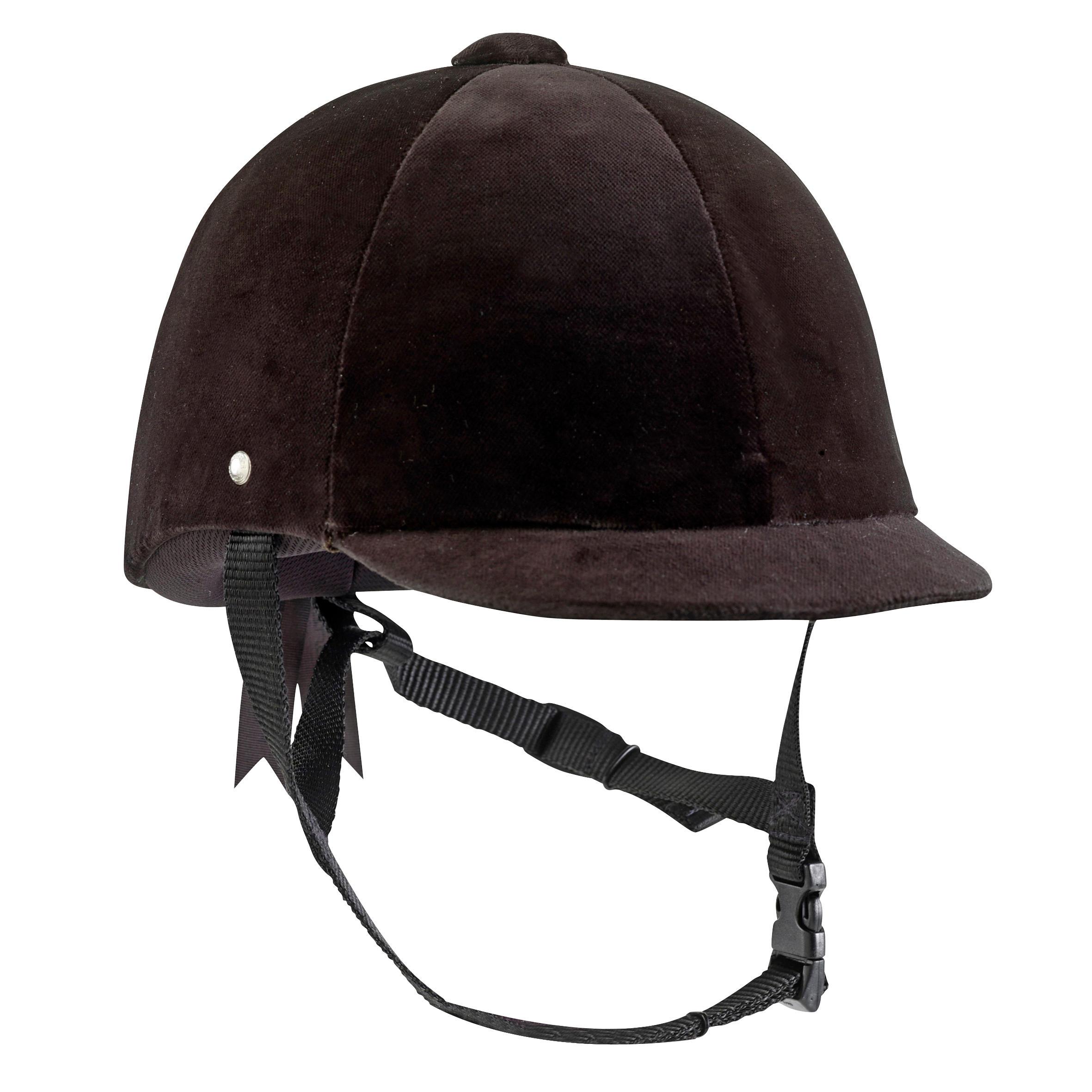 Fouganza Paardrijcap C400 fluweel zwart maat 52 tot 59 cm