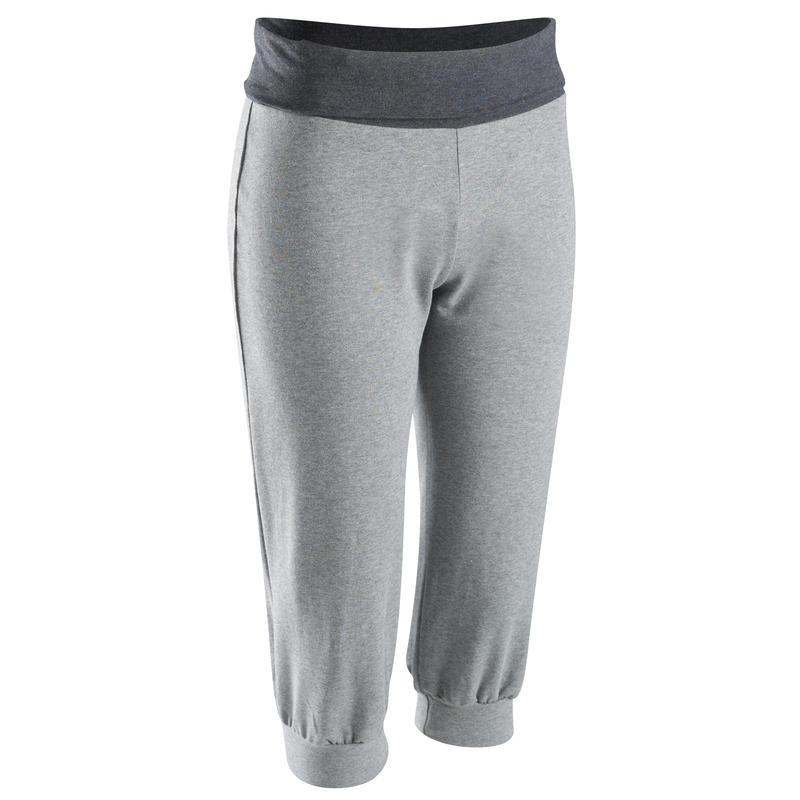 Corsaire coton biologique ggym douce, yoga femme gris clair
