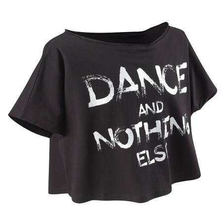 Girls' short modern dance T-shirt - black.