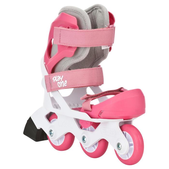 Inline Skates Inliner Play One Girl Kinder größenverstellbar rosa/weiß