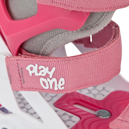 Kids' Set of Inline Skate Protectors Play One - Pink/White