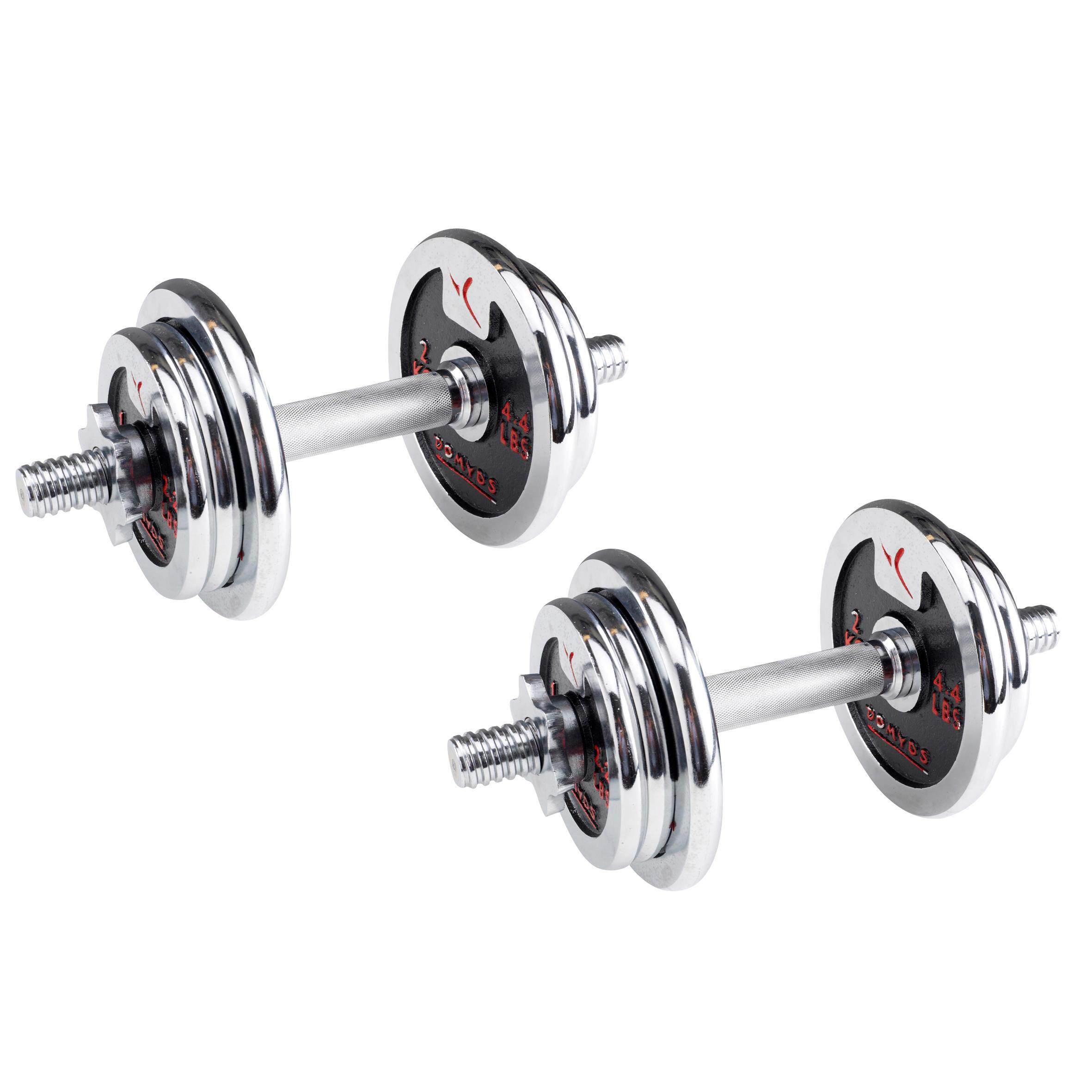 Dumbbell Set Decathlon: Dumbells Chrome Weight Training Dumbbell Kit 20kg