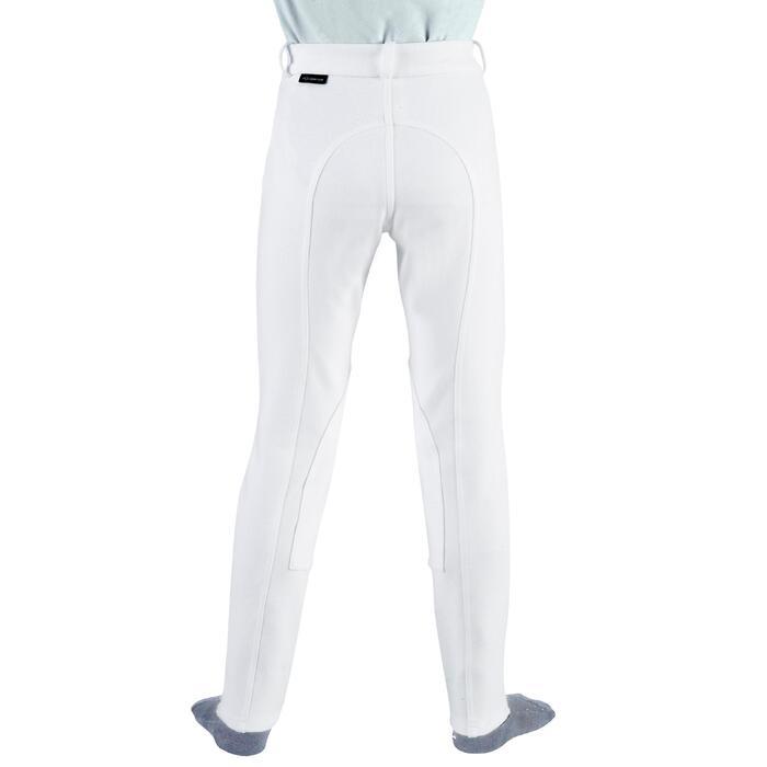 Pantalón Concurso Equitación Fouganza 100 Niño Blanco Con Badanas de Tela