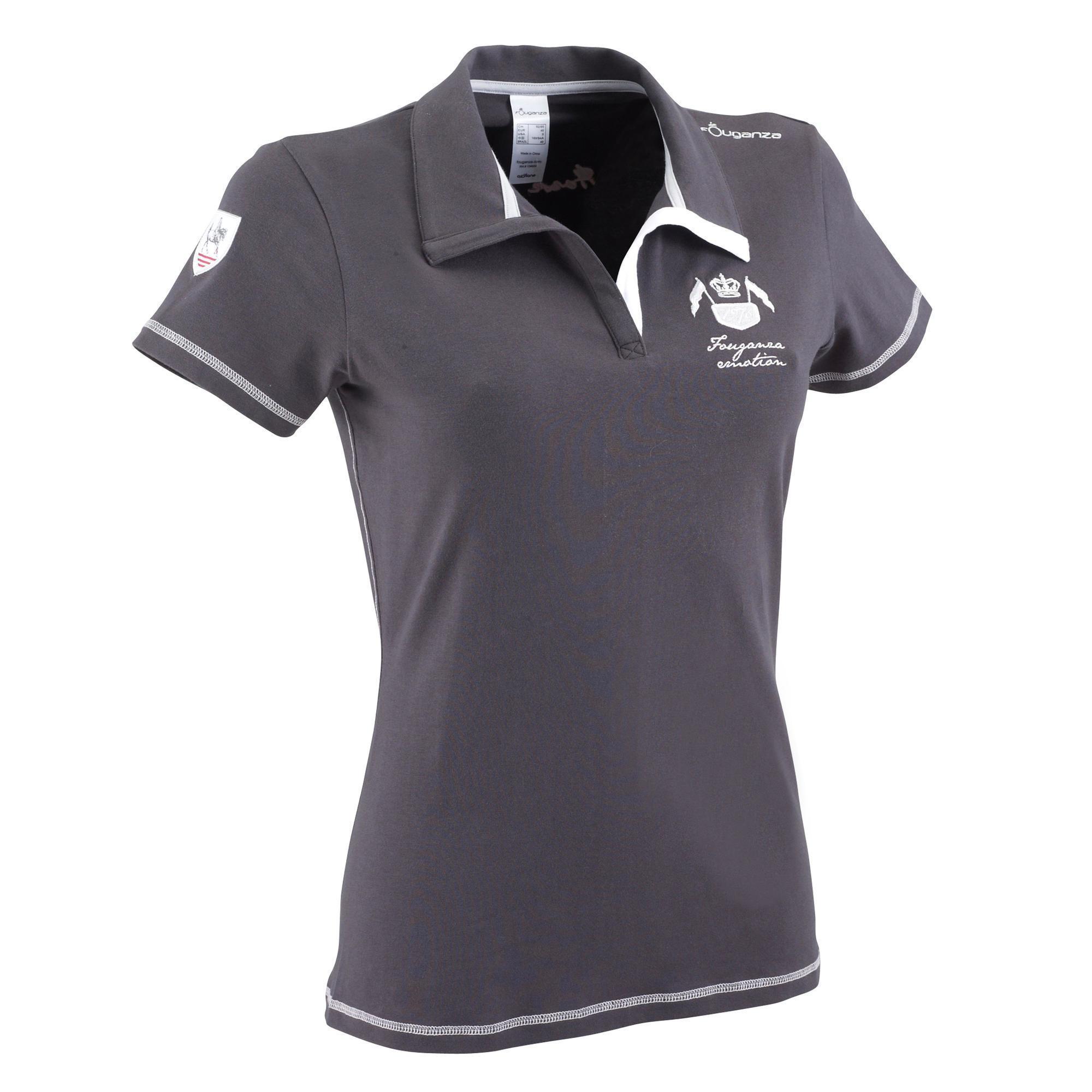 VINTAGE women s horse riding short-sleeved polo shirt - dark grey ... 886cd374a5