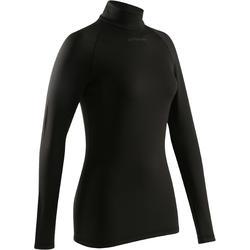 Fietsondershirt 100 met lange mouwen voor dames zwart