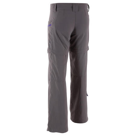 Forclaz 500 Girls' Modulpant - Grey