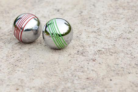 Set of 8 petanque coloured boules