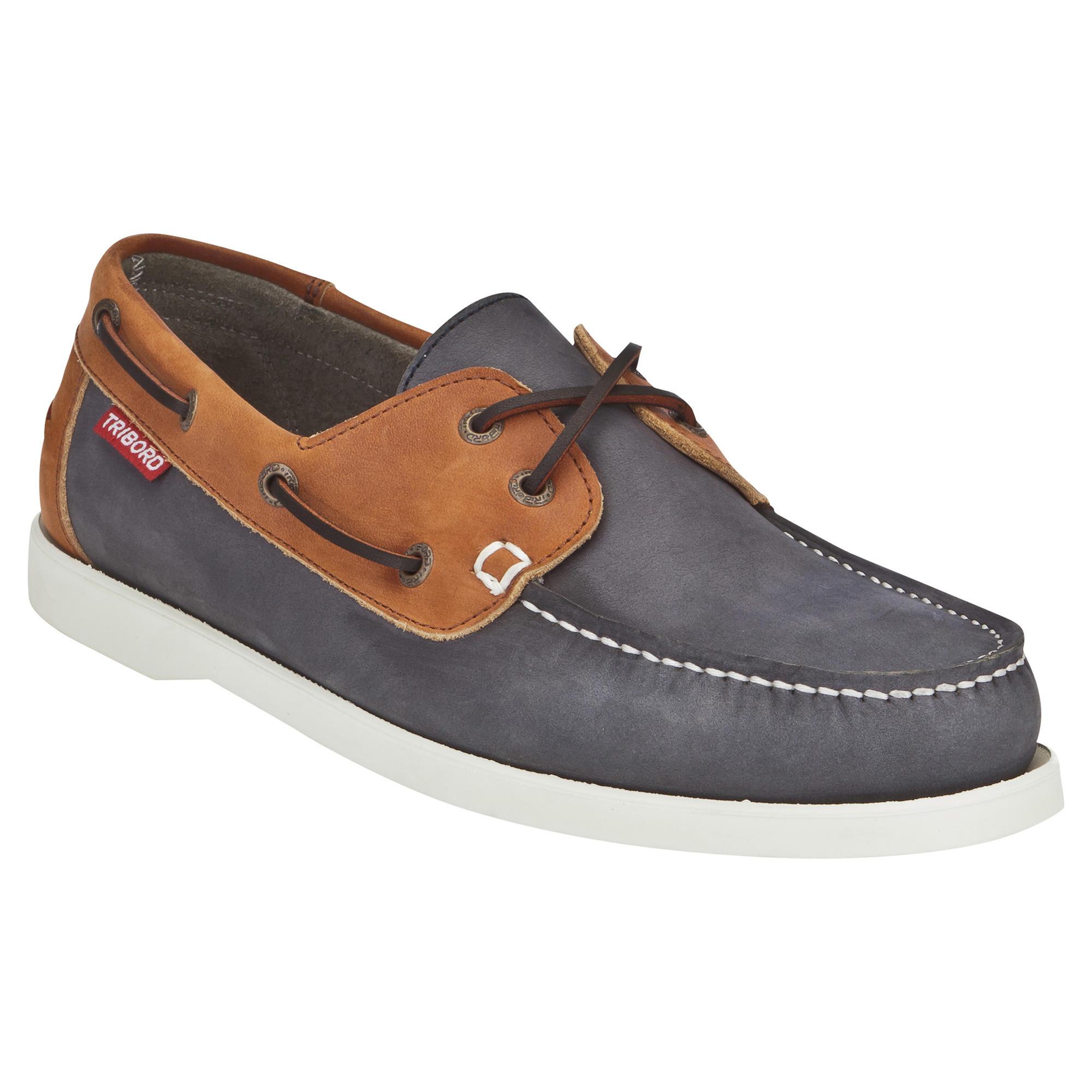 Chaussures bateau cuir homme cr500 bleu marron tribord - Chaussure de securite homme decathlon ...