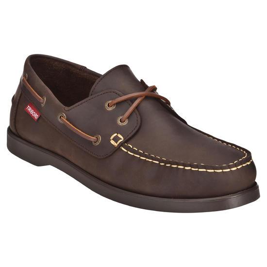 Leren bootschoenen CR500 voor heren donkerbruin - 558097