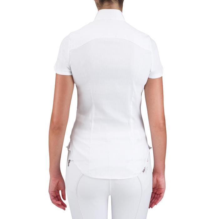 Chemise manches courtes Concours équitation femme blanc broderie argent - 558862
