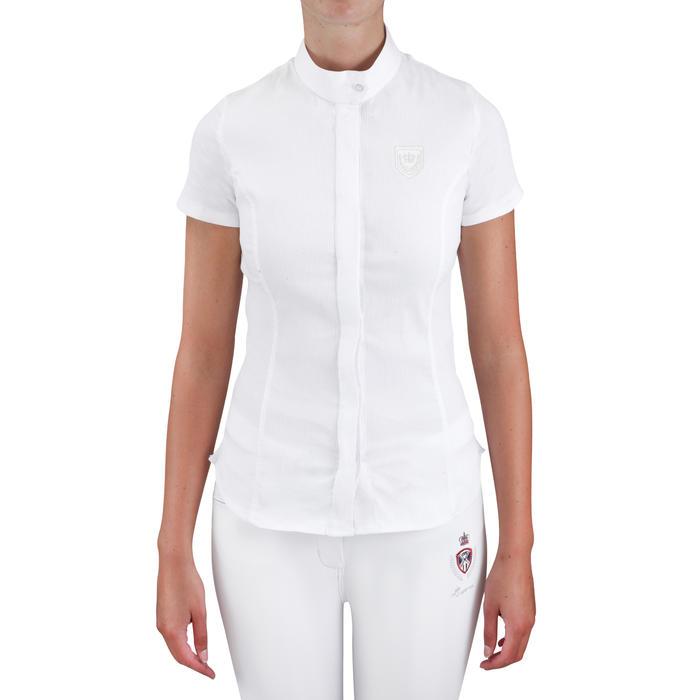 Chemise manches courtes Concours équitation femme blanc broderie argent - 558865