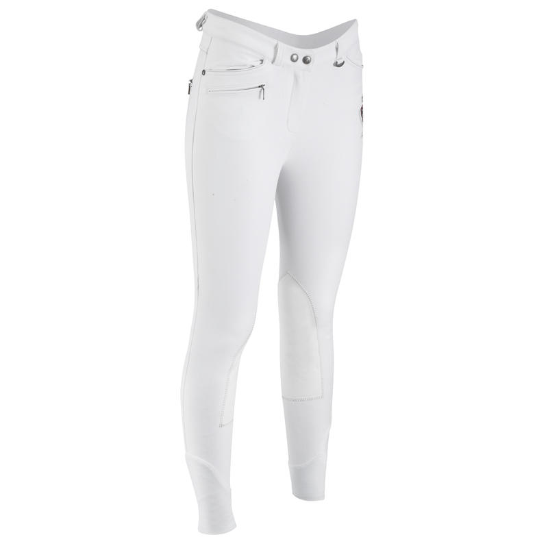 BR700 Women's Competition Horse Riding Jodhpurs - White