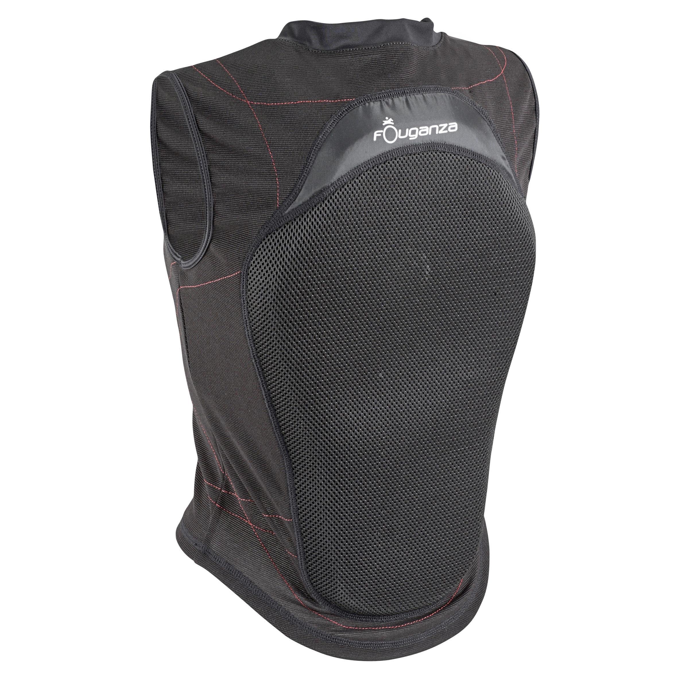 Fouganza Soepele rugbeschermer voor volwassenen en kinderen ruitersport zwart thumbnail
