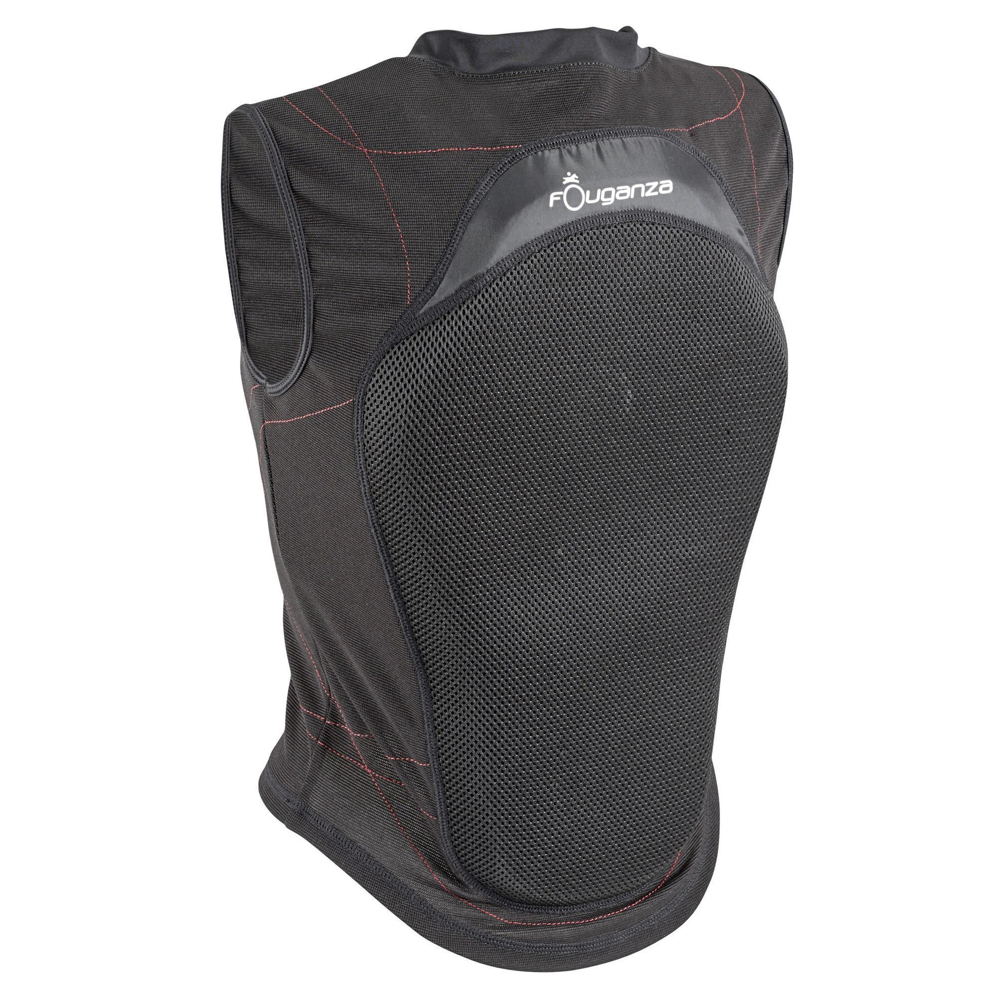 Fouganza Soepele rugbeschermer voor volwassenen en kinderen ruitersport zwart