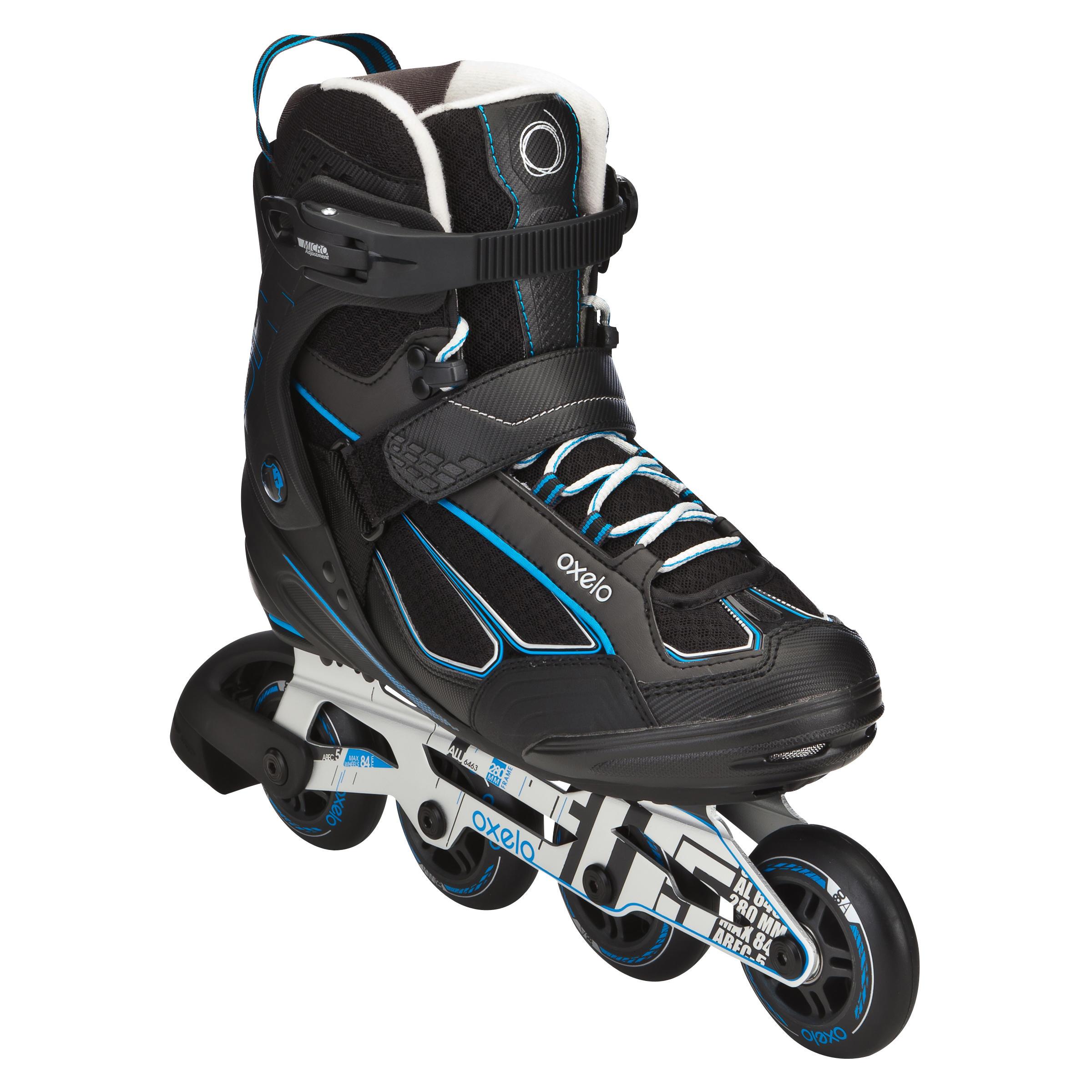 009d9bb153d Oxelo Fitness skates Fit 5 voor heren zwart/blauw thumbnail