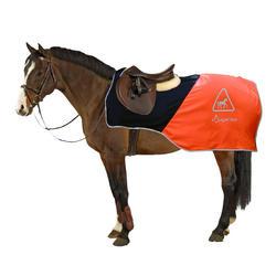 Manta riñonera de equitación caballo naranja y negro