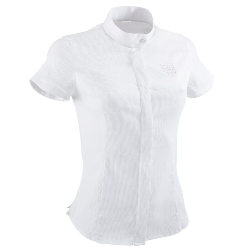 Women's Short-Sleeved Horse Riding Competition Shirt - White/Silver Embroidery