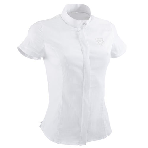 CHEMISE CONCOURS EQUITATION MANCHES COURTES FEMME BLANC BRODERIE ARGENT