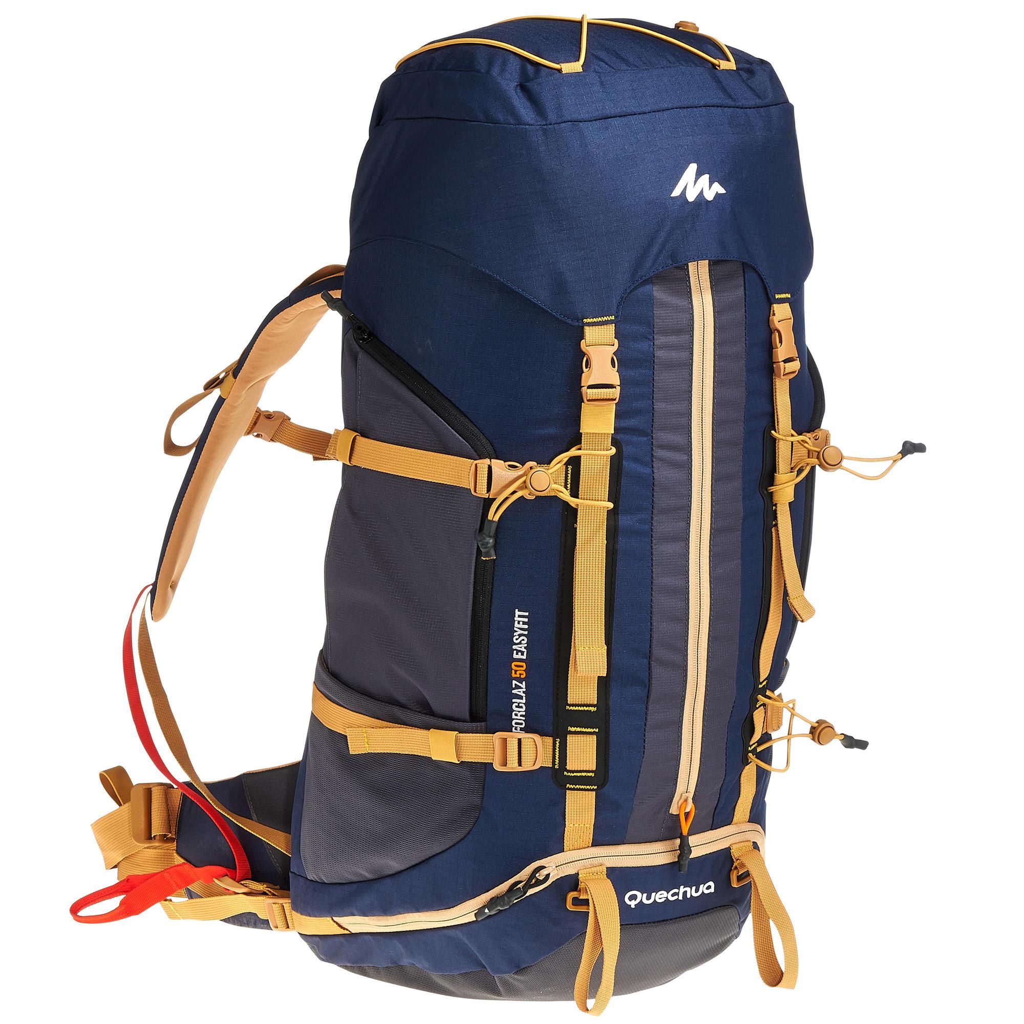 sac dos trekking easyfit homme 50 litres bleu quechua. Black Bedroom Furniture Sets. Home Design Ideas