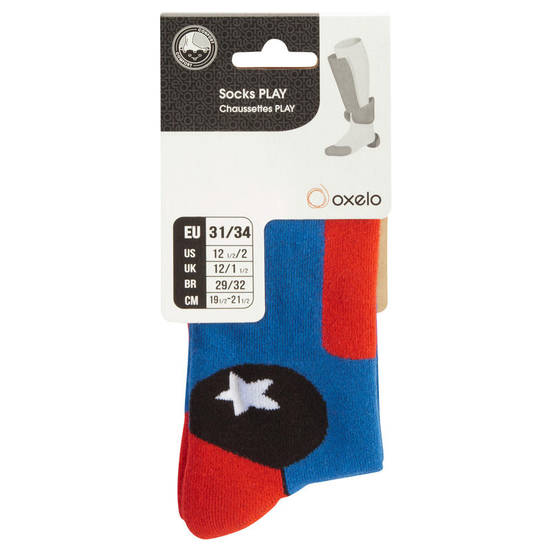 Play Kids' Inline Skating Socks - Blue/Red
