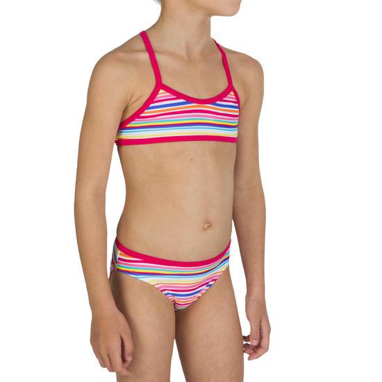 Meisjesbikini met topje zonder sluiting en gekruiste bandjes op de rug Palmier - 572220